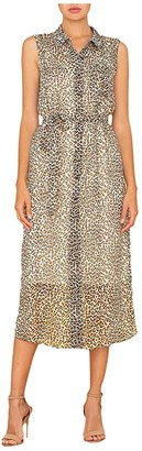 Miss Me Leopard Print Maxi Shirtdress (Taupe Grey) Women's Clothing