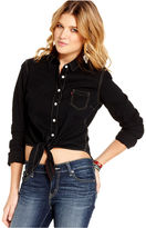 Levi's Top, Long Sleeve Tie-Front Button-Down