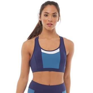 Asics Womens Colour Block Sports Bra Top Indigo Blue