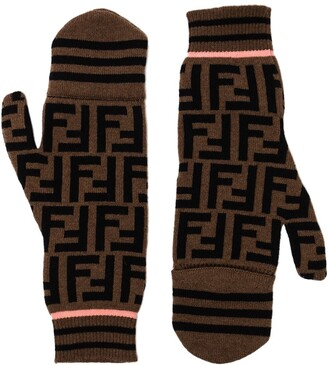Fendi FF motif pattern mitten gloves