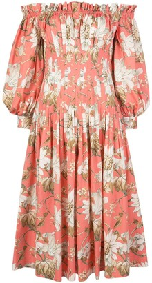 Oscar de la Renta Sorbet Floral Off-the-shoulder Dress