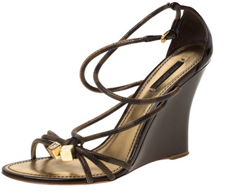 Louis Vuitton Patent Leather And Canvas Strappy Wedge Sandals Size 40