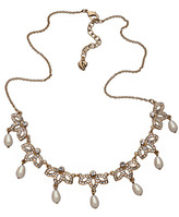 Carolee White Pearl Crystal Songbird Necklace