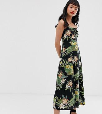 Asos DESIGN Petite cami maxi dress in tropical print-Multi