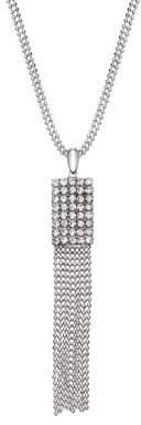 Xo X & O Rhodium Plated Double Chain Crystal Rectangle With Draping Chain Pendant Necklace