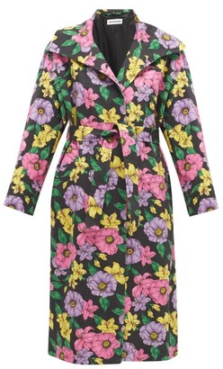 Balenciaga Belted Floral-print Cotton-twill Trench Coat - Multi