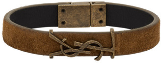 Saint Laurent Brown Suede Opyum Bracelet