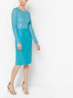 Michael Kors Embroidered Stretch Silk-Crepe Sheath Dress