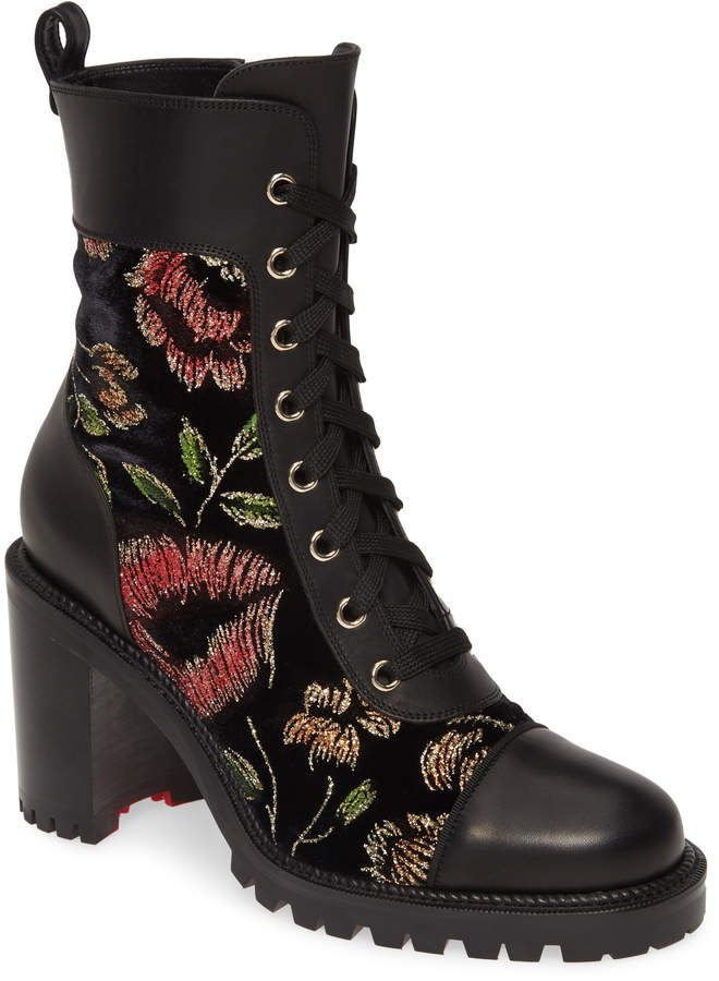 341d570a614 Metallic Floral Lace-Up Boot