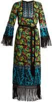 Andrew Gn Multi-print tie-waist silk-blend georgette gown