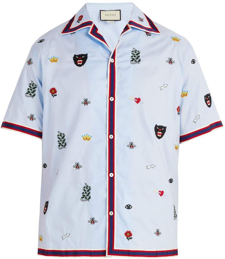 Gucci Motif-embroidered bowling shirt