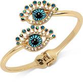 Betsey Johnson Gold-Tone Crystal Eye Bypass Hinged Bangle Bracelet