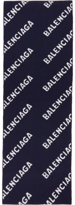 Balenciaga Navy and White Logo Scarf