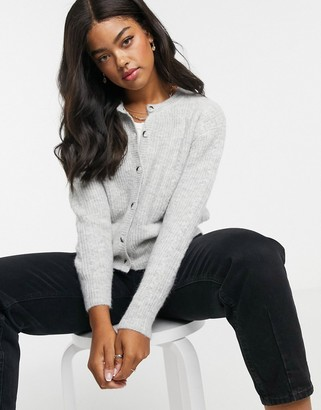 Pimkie button front ribbed cardigan in grey