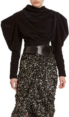 Isabel Marant Cotton Puff-Sleeve High-Neck Blouse