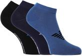 Emporio Armani 3 Pack Navy, Black & Blue Soft Cotton Trainer Socks