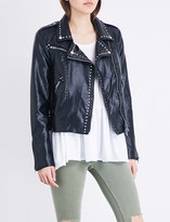 Free People Studded vegan moto faux-leather jacket