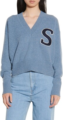 Sandro V-Neck Crop Wool Sweater