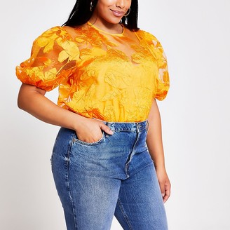 River Island Plus orange floral organza top