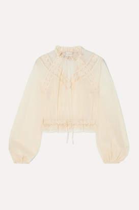 Zimmermann Sabotage Crocheted Lace-trimmed Seersucker Blouse - Ivory