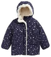 Joules Faux Fur Trim Hooded Puffer Jacket