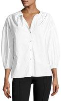 Saloni Bette Puff-Sleeve Cotton Shirt, White