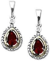 Macy's 14k Gold and Sterling Silver Earrings, Gemstone (3/8 ct. t.w.) and Diamond Accent Teardrop Earrings