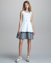 Jil Sander Navy Button-Front Sleeveless Gingham-Hem Dress
