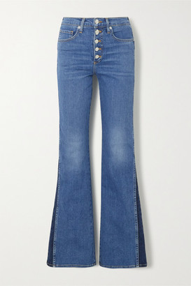 Veronica Beard Kiley Two-tone High-rise Flared Jeans - Mid denim