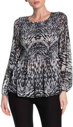 ECI Animal Print Smocked Shirt