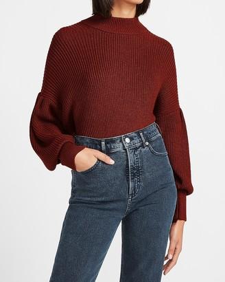 Express Ribbed Mock Neck Balloon Sleeve Sweater