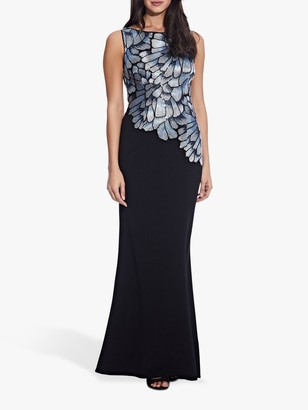 Adrianna Papell Embroidered Maxi Dress, Silver/Blue Multi