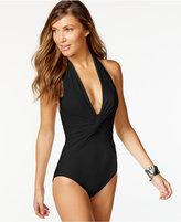 MICHAEL Michael Kors Twist-Front Halter One-Piece Swimsuit