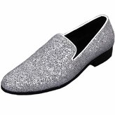 Fulinken Men Genuine Leather Mens Metallic Textured Slip-on Glitter Loafers Shoes