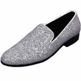 Fulinken Men Genuine Leather Mens Metallic Textured Slip-on Loafers Shoes