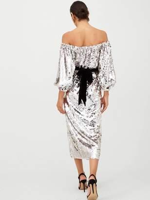Very Bardot Sequin Blouson Sleeve Velvet Tie Midi Dress - Silver