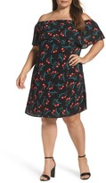 Vince Camuto Off the Shoulder Floral Shift Dress (Plus Size)