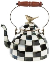 Mackenzie Childs Courtly Check Enamel Tea Kettle with Bird