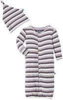 Kickee Pants Print Gown w/Knot Hat (Baby) - Rain Stripe-NB