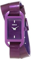 Versus By Versace Women's SGQ060013 Ibiza Rectangular Purple Aluminum Case Leather Strap Patent Top Watch