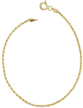 Fremada 14k Yellow Gold 1.5 millimeter Rope Chain Anklet