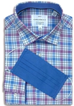 Construct Receive a Free Face Mask with purchase of the Con. Struct Men's Slim-Fit Non-Iron Performance Stretch Plaid Cooling Comfort Dress Shirt