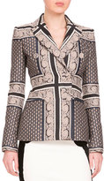 Altuzarra Alexandria Double-Breasted Mixed-Print Jacket, Navy