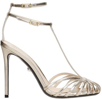 ALEVÌ Milano Stella 110 Sandals In Gold Leather
