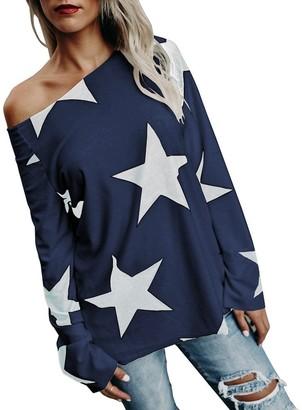 DEELIN Women Girl Round Neck Sexy Off Shoulder Strapless Star Sweatshirt Long Sleeve Crop Jumper Pullover Autumn Winter Long SleeveTops(Navy UK-(14 16) CN-XL)