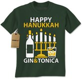 Expression Tees Mens Gin and Tonica Happy Chanukha T-Shirt Charcoal Grey