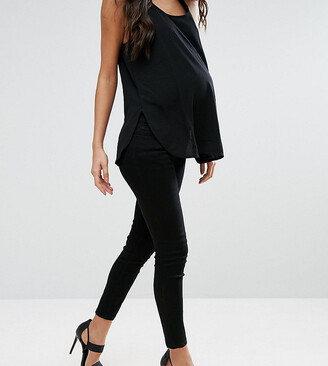 ASOS DESIGN Maternity Petite Ridley 'skinny' Jean In Clean Black With Under The bump waistband
