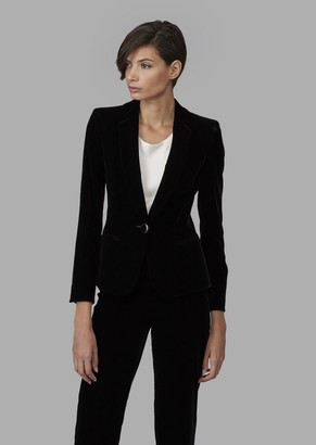 Giorgio Armani Single-Breasted Velvet Jacket With Jewel Button Detail