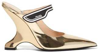 Prada Logo-strap Leather Mary-jane Mules - Womens - Gold