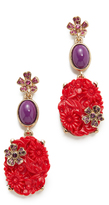 Oscar de la Renta Floral Crystal Resin Earrings